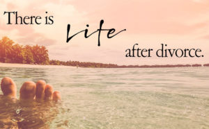 life after divorce text over water scene with toes poking out of water