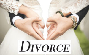 broken image of hands forming heart with divorce in bold letters below